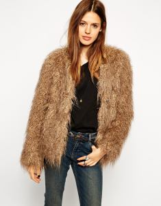 ASOS Coat In Faux Mongolian Fur
