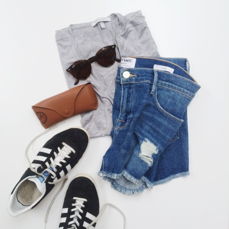 Adidas Gazelle Trainers, Frame Denim Shorts, Rayban Sunglasses & Bella Luxx T-Shirt